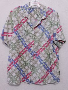 Alfred Dunner - Women-s Top/Blouse 16 Multi-color Button Down Front & Short Sleeves #AlfredDunner #Blouse
