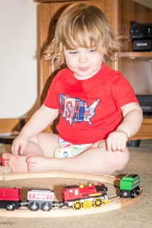 The tracks are sturdy, made from wood and easy for him to put together. The trains have magnets to attach to each other and roll very easily on the tracks. And my favorite, there any many more sets, which are very affordable, that we can add on with!