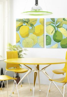 Liven up the kitchen and dining room with bright and colorful limes and lemons. These colors work well to bring a little cheery atmosphere into a room.