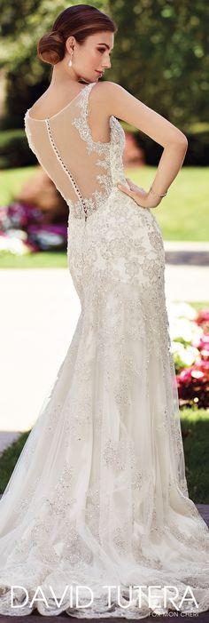 David Tutera for Mon Cheri Spring 2017 Collection - Style No. 117275 Chrisann - sleeveless lace sheath wedding dress with illusion back