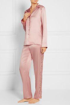 I.D. Sarrieri | Chantilly lace-paneled silk-blend satin pajama pants | NET-A-PORTER.COM