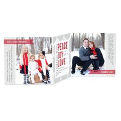 Winter Harmony - Tri-Fold Holiday Cards - Elm and Gray in Winterberry Red