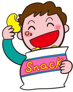 お菓子大好き! お菓子をほおばる子ども スナック菓子をほおばる イラスト