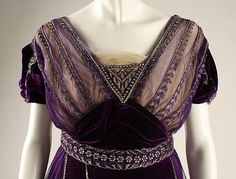 Evening dress (image 7) | House of Worth | French | 1910 | silk, cotton, metallic threads, glass | Metropolitan Museum of Art | Accession Number: 1977.158.1