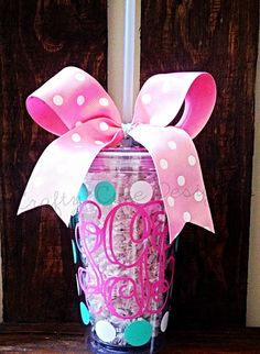 Monogrammed Polka Dot Tumbler Cup w/ Bow on Etsy, $12.00