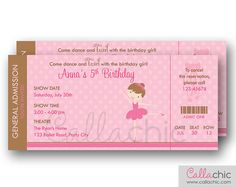 Ballet Ticket Invitation PRINTABLE - Ballerina Birthday Invite for Girls (Pink Brown)