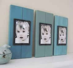 Set of Three Plank Frames with Shades of Turquoise  for 4X6 Pictures