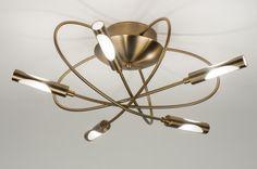 Plafondlamp 71992: Modern, Brons Roest Bruin, Roest, Bruin