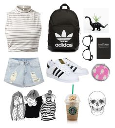 """School days"" by abriellejessica ❤ liked on Polyvore featuring mode, adidas Originals, adidas, Moleskine en Forever 21"