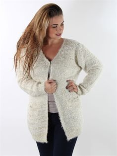 Zanca Sonne - Off white soft knit with glitter threads for curvy girls