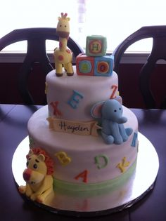 Safari Animals/ Alphabet Baby Shower Cake.- This is so cute.