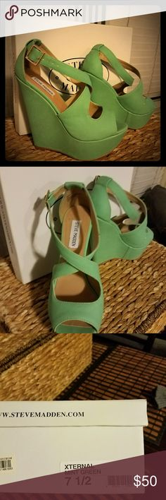 M Steve madden mint green strappy wedge open toe super cute mint green wedges great for spring or pop of color Shoes Wedges
