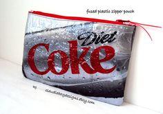 Fused Plastic Zipper Pouch Makeup Bag by ClaudiaBagDesigns, #diet_coke #fused_plastic #recycle