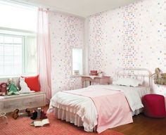 Pink Girl Wallpaper Theme With Orange Pillow And Pink Curtain