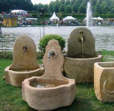 Fountain – Strong fountains - All About Garden Sink, Potager Garden, Water Garden, Garden Pots, Outdoor Wall Fountains, Stone Fountains, Garden Fountains, Landscape Design, Garden Design