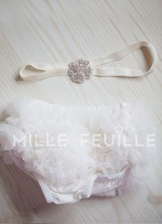 FRONT AND BACK ruffle bloomers and crystal flower headband for newborn, baby, toddler, girl or adult