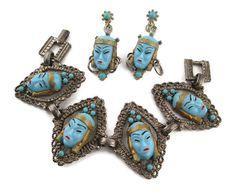 Vintage  Selro Pastel Blue  Glass Asian Princess  Diamond Shaped Demi Parure Bracelet and Earrings