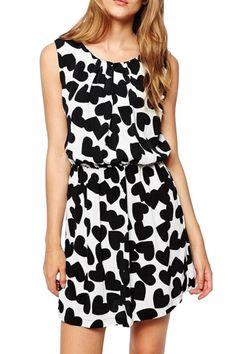 Sweet Black White Heart Print Mini Dress - OASAP.com