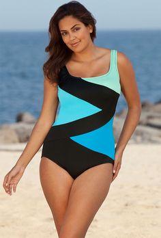 c806950615 Beach Belle Cool Water Plus Size Tricolor Spliced Swimsuit Curvy Swimwear