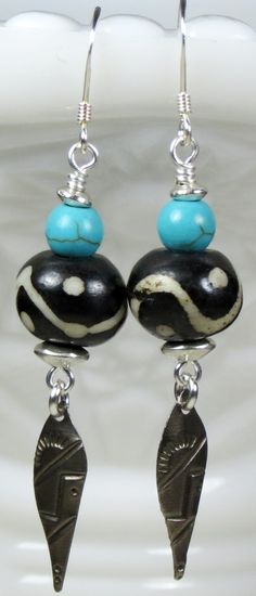 Black, White and, Turquoise Stone Beaded, Long Dangle Earrings, Sterling Silver Earring Wire, Bohemian Ethnic Tribal inspired Jewelry.