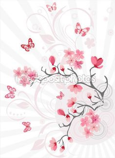 Cherry blossom background — Stock Illustration #1379033