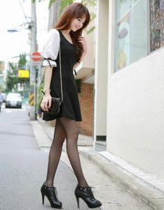 korean clothing   Korean Fashion Bowknot Cuff Half Sleeve Mini Dress