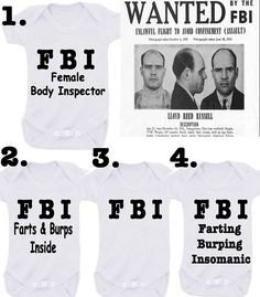 Bodysuit / Onesie FBI  this is so cute and funny on Etsy, £4.99
