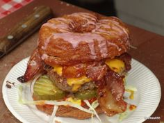 """#CRONUT: If I told you I could serve you a pancake made from a Strawberry Shortcake fried in caramel and dipped in chocolate then sprinkled with bacon, what would you say to that?? Oh… you said """"yes please,"""" I thought you'd say """"no thanks"""" in horror. Cronut, What Is Hot, Strawberry Shortcake, Hamburger, Fries, Bacon, Goodies, Beef, Chocolate"""
