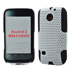 Huawei Ascend 2/ M865 - Rubberized Hybrid Skin Solid Black Skin with White Cover - myaccessoryguy