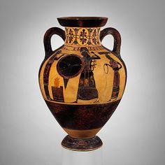 Terracotta neck-amphora of Panathenaic shape (jar)  Attributed to the Princeton Painter   Period: Archaic Date: ca. 550–540 B.C. Culture: Greek, Attic Medium: Terracotta Dimensions: H. 7 3/8 in. (18.7 cm) diameter of mouth 6 11/16 in. (17 cm) Classification: Vases Credit Line: Rogers Fund, 1953 Accession Number: 53.11.1