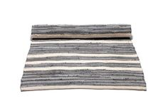 Striped white and grey washable cotton rag rug - Skandihome Bathroom Rugs, Wooden Flooring, Grey Rugs, The Guardian, Rug Runner, Industrial Style, Grey And White, Hand Weaving, Classic