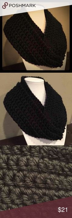 Handmade black crochet infinity scarf This is a hand crocheted with quality acrylic yarn. It is soft, warm, and bulky but lightweight to wear. This scarf is perfect for those autumn and winter days when you want to stay warm.   Details: Color- Black Length- 31 1/2 inches Width- 4 1/4 inches Yarn- Bernat Softee Chunky  Personalized: IIf you would like this scarf a different length, design (like stripes), color I might not have listed, please message me and I would be happy to make a…