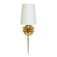 DELILAH G GLD LF ONE ARM SCONCE W 3 LAYER LEAF MOTIF & WHITE LINEN SHADE #WorldsAway