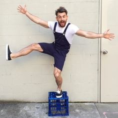goofy Lumbersexual in white tee + overall shorts // menswear style + fashion