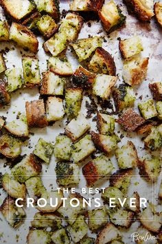 Enter these delightful croutons, which immediately upgrade even the blandest of kale blends.  And if you're really anti-lettuce, they're pretty wonderful atop a bowl of soup.  Or even eat on their own as a snack, nobody  will tell!