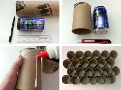 Poster-shipping tubes and cans of beer. Or use paper towel tubes and liquor minis!