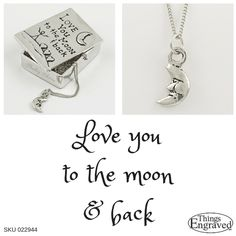 """Let them know how special you think they are with this genuine pewter set. The lid reads """"Love you to the moon & back."""" Nestled inside the box is a moon pendant necklace.  $30 Made in Canada"""