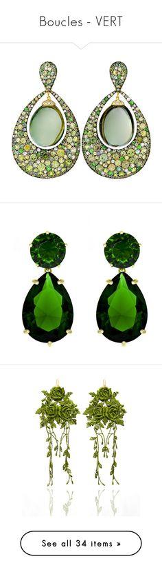 """""""Boucles - VERT"""" by liligwada ❤ liked on Polyvore featuring jewelry, earrings, 18k diamond earrings, cabochon earrings, diamond jewellery, 18k earrings, 18 karat gold jewelry, white, cubic zirconia drop earrings and drop earrings"""