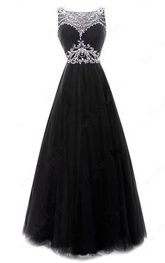 Open Back A Line Scoop Neck Tulle Floor Length Beading Black Prom Dress