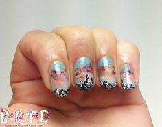Mountain nail art | BASE COAT TOP COAT