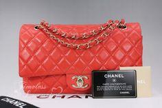 CHANEL Tangerine Lambskin Classic Double Flap Gold Hw