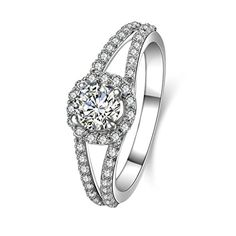 AMDXD Jewelry 925 Sterling Silver Promise Ring Women Round Cut Topaz Round Rings