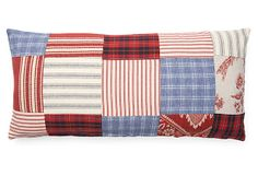 FRENCH LAUNDRY | Patchwork 12x24 Cotton Pillow, Red | down insert | 145.00 retail