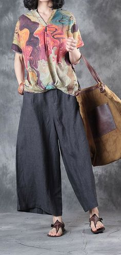 nude casual linen blouse oversize tops V neck t shirt