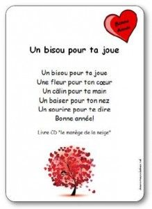 Kinderlieder Un bisou pour ta chee von Michle Bertrand Illustrierte Texte zum Ausdrucken quotUn bisou pour ta chequot Valentines Day Sayings, French Poems, French Quotes, French Teaching Resources, Teaching French, Core French, Valentine's Day Quotes, Smile Quotes, French Lessons