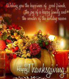 Wishing you the happiness of good friends, the joy of a happy family and the wonder of the Holiday season..Happy Thanksgiving
