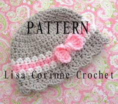 Crochet Pattern - Baby Girl Cloche Striped Hat With Bow And Scalloped Edging Easy Modern Crocheted Infant Fashion Cap PDF. $5.95, via Etsy.
