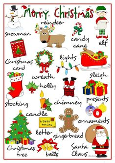 Merry Christmas - pictionary worksheet - Free ESL printable worksheets made by teachers Merry Christmas, English Christmas, Christmas Words, Christmas Crafts, English Tips, English Lessons, Learn English, French Lessons, Spanish Lessons