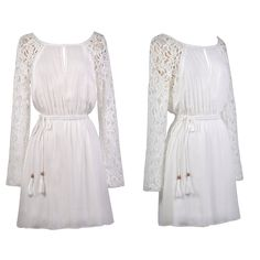 This off white dress has cute crochet sleeves!  http://ss1.us/a/uHc2GAQB