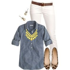 leopard flats, white jeans, chambray shirt, yellow necklace, brown belt